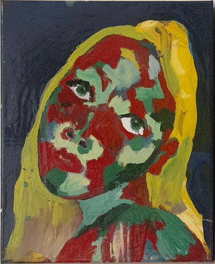 Autoportrait noir (fond bleu)