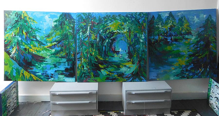triptyque bois bleu