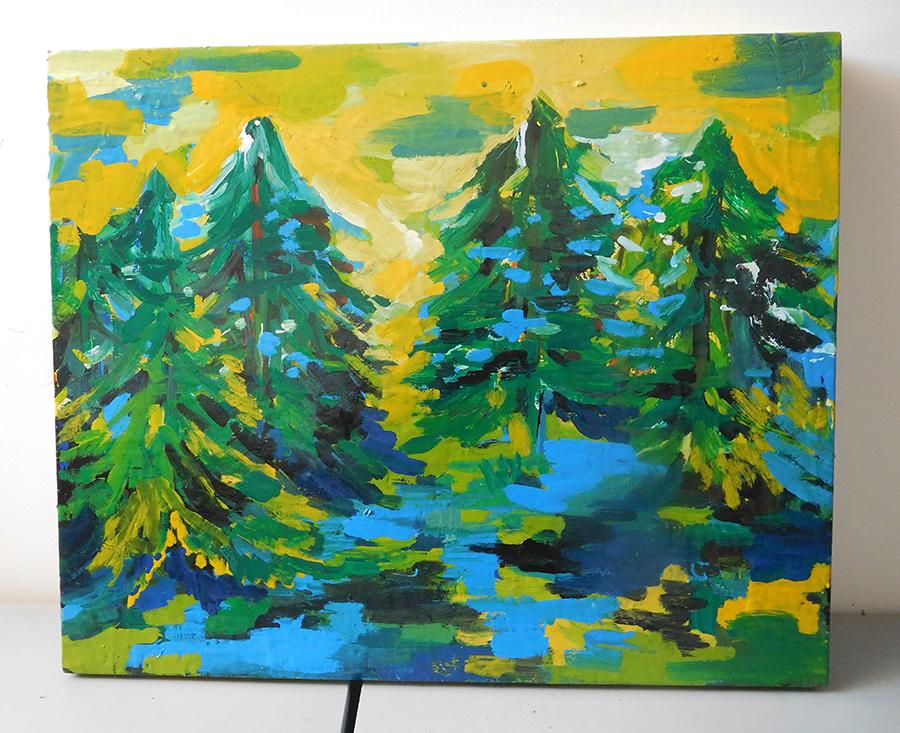 tableau bois jaune